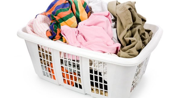 laundry basket and dirty clothes